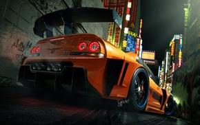 Nissan Skyline GT, R R34, digital art, sports cars, sports car