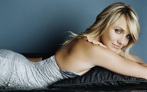 girl, dress, lying down, celebrity, blonde, Cameron Diaz