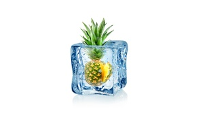 pineapples, minimalism, water drops, white background, ice cubes, digital art