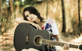 model, T, shirt, Asian, guitar, looking at viewer
