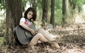 legs, long hair, girl, nature, guitar, sitting