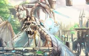 dragon, sword, anime girls, armor, artwork