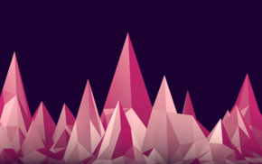 simple background, minimalism, low poly, 3D, pink, mountain