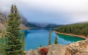 landscape, mist, Alberta National Park, Canada, lake, mountain