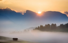 mist, Italy, morning, clouds, sunrise, mountain