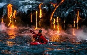 water, danger, men, landscape, kayaks, lava