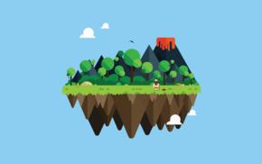 vulcano, minimalism, lava, island, Adobe Illustrator, floating island