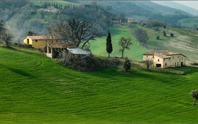 grass, landscape, trees, hill, nature, house