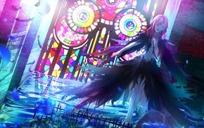 manga, black, stained glass, Guilty Crown, Yuzuriha Inori, anime