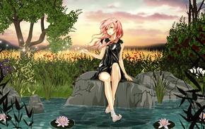 manga, anime girls, barefoot, Yuzuriha Inori, Guilty Crown