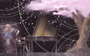 Shigatsu wa Kimi no Uso, violin, piano, Arima Kousei, cherry blossom, anime girls