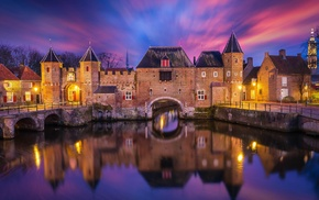 long exposure, castle, lights, clouds, architecture, reflection
