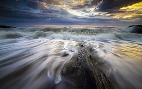 clouds, horizon, rock, sunset, waves, long exposure