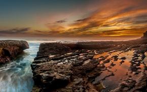 horizon, sunset, rock, nature, landscape, sea