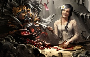 knife, braids, fantasy art, Bali, flower in hair, Indonesia