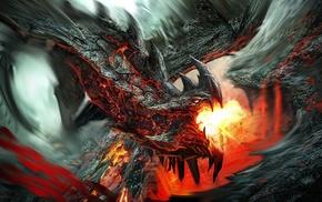 dragon, digital art, fantasy art, painting