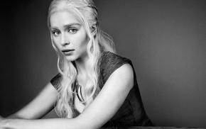 Emilia Clarke, monochrome, Daenerys Targaryen, Game of Thrones