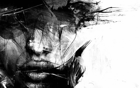 digital art, girl, face, artwork, monochrome, splashes