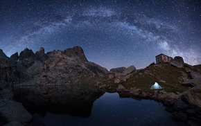 mountain, Milky Way, house, nature, rock, tents