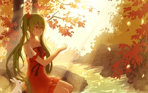 long hair, Vocaloid, water, anime, Hatsune Miku, trees
