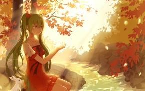long hair, Vocaloid, water, anime, Hatsune Miku, trees