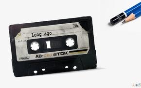 cassette, pencils, tape