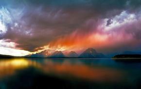 mountain, reflection, storm, colorful, rain, nature