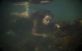 underwater, swimming, girl
