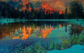 sunset, snow, lake, mountain, landscape, snowy peak
