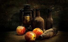 bottles, apples