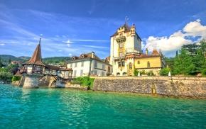 castle, nature, landscape, architecture, trees, lake