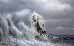 landscape, waves, clouds, nature, storm, lighthouse