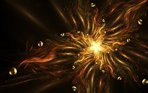 digital art, abstract, fractal, stars, sphere, gold