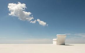 blue, chair, shadow, horizon, white, minimalism