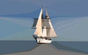 low poly, sailing ship, horizon, blue, minimalism, digital art