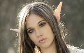fantasy art, green eyes, girl, brunette, face, elves