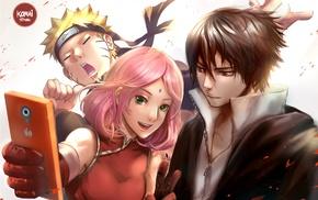 Haruno Sakura, anime girls, manga, Uchiha Sasuke, cellphone, Konoha