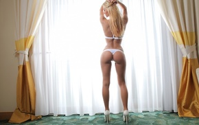 model, long hair, high heels, curtains, hands on head, rear view