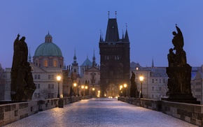 old building, tower, church, street light, cathedral, bridge