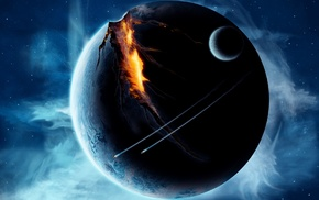 space, fire, digital art, stars, universe, futuristic