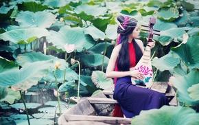 long hair, model, girl outdoors, water, girl, playing