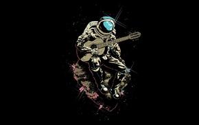 black background, meteors, space suit, sitting, digital art, astronaut