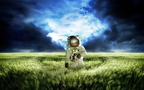 astronaut, space suit, gloves, digital art, clouds, spikelets