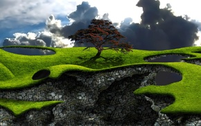 trees, floating island, digital art, field, nature, grass