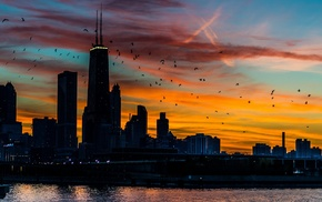 sunset, building, cityscape