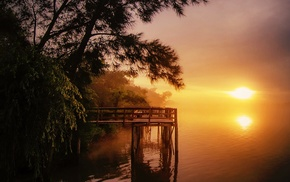 pier, river, landscape, sunrise, water, morning
