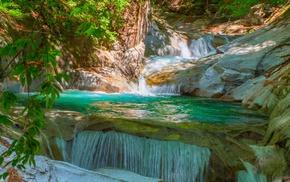 foliage, river, waterfall, landscape, nature