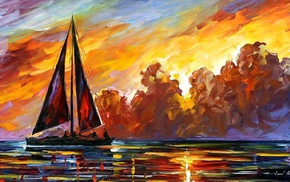 painting, sea, artwork, Leonid Afremov, sailboats