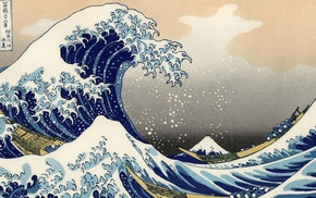 The Great Wave off Kanagawa, artwork, waves, sea, Japanese