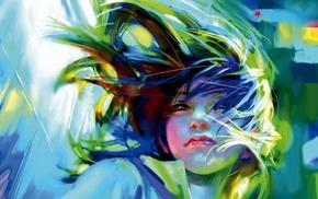 colorful, girl, artwork